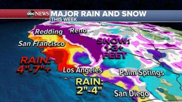 PHOTO: Elsewhere, major flash flooding and debris flow is possible later this week in California. (ABC News)