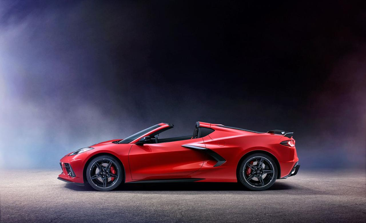 <p>Like many Corvettes past, the C8's upper body tapers to a near point, accentuating the superwide rear fenders.</p>