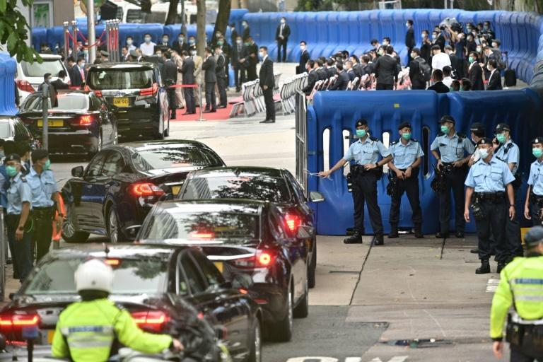 Security barriers were thrown up around the hotel overnight ahead of the inauguration ceremony