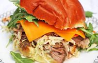 """<p>Like any good pulled-pork recipe, this one requires that you let the meat slow cook for eight hours. Make it the night before and by morning, <a href=""""https://www.thedailymeal.com/best-recipes/101-best-slow-cooker-recipes-slideshow?referrer=yahoo&category=beauty_food&include_utm=1&utm_medium=referral&utm_source=yahoo&utm_campaign=feed"""" rel=""""nofollow noopener"""" target=""""_blank"""" data-ylk=""""slk:you'll have a week's worth of dinner in the Crock-Pot"""" class=""""link rapid-noclick-resp"""">you'll have a week's worth of dinner in the Crock-Pot</a>.</p> <p><a href=""""https://www.thedailymeal.com/pulled-pork-sandwich?referrer=yahoo&category=beauty_food&include_utm=1&utm_medium=referral&utm_source=yahoo&utm_campaign=feed"""" rel=""""nofollow noopener"""" target=""""_blank"""" data-ylk=""""slk:For the Pulled Pork Sandwich recipe, click here."""" class=""""link rapid-noclick-resp"""">For the Pulled Pork Sandwich recipe, click here.</a></p>"""