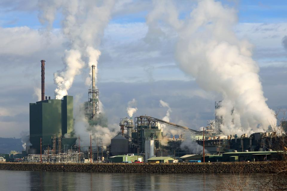 Riverside industrial pulp mill showing smokestacks and stream releases as the facility operates on a sunny afternoon. (Photo by: Education Images/Universal Images Group via Getty Images)