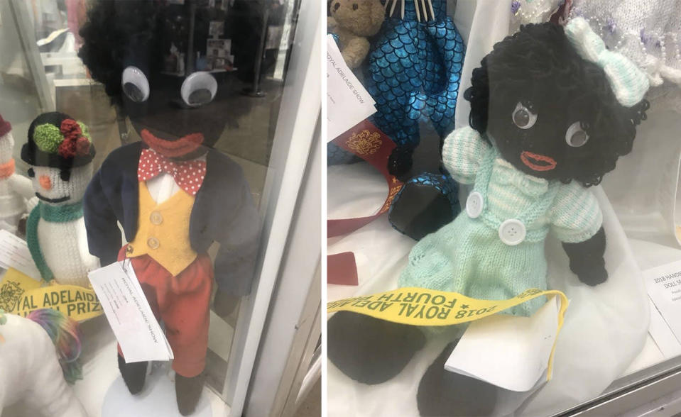 The golliwog dolls on display sparked outrage in the South Australian Aboriginal community. Source: Facebook/Deadly Yarning from South Australian Aboriginal Communities