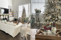 This combination photo shows views of the Christmas-decorated interior of Danielle Martin's home in Manteno, Ill. Martin is a big Christmas person but usually waits to decorate until the day after Thanksgiving. This year she got busy on Nov. 1. (Danielle Martin via AP)