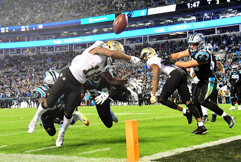 Panthers cornerback James Bradberry knocks the ball loose at the goal line from Saints receiver Tommylee Lewis. (Photo by Scott Cunningham/Getty Images)