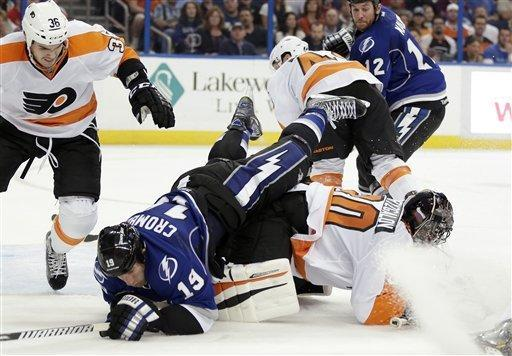 Tampa Bay Lightning right wing B.J. Crombeen (19) goes over the top of Philadelphia Flyers goalie Ilya Bryzgalov, of Russia, (30) after getting pushed by center Zac Rinaldo (36) during the second period of an NHL hockey game Monday, March 18, 2013, in Tampa, Fla. (AP Photo/Chris O'Meara)