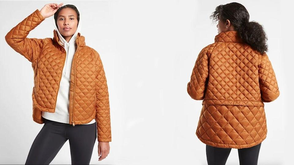 This lightweight coat comes in regular, petite and tall lengths and in sizes from XXS to 3X.