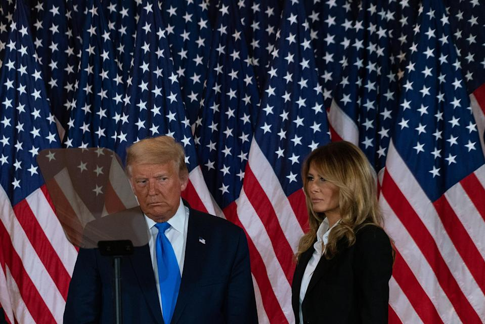 """President Trump and the First Lady enter the East Room of the White House on Nov. 4, to deliver remarks as results of the election remained unclear.<span class=""""copyright"""">Peter van Agtmael—Magnum Photos for TIME</span>"""