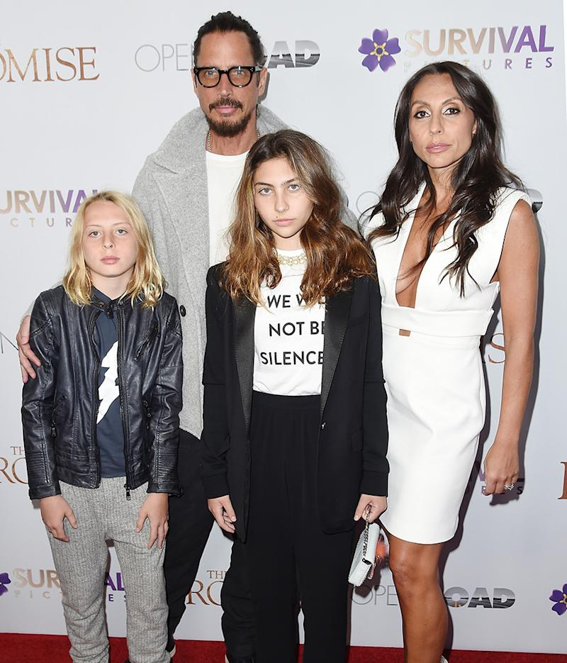 Chris Cornell with wife Vicky and children Toni and Christopher at a screening of <em>The Promise</em> in NYC on April 18.
