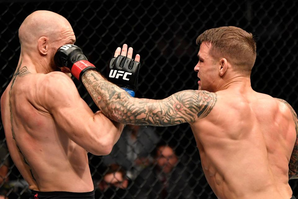<p>Revenge: Dustin Poirier stopped Conor McGregor in the second round at UFC 257</p> (Zuffa LLC via Getty Images)
