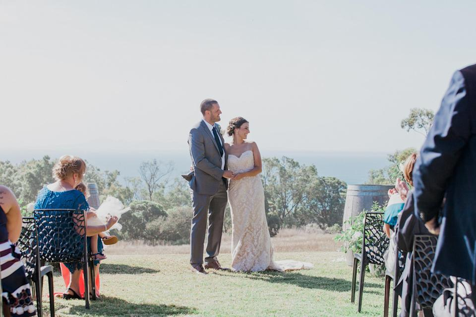 Samantha and Andrew managed to save over $8,000 on their dream wedding by using Kmart décor and cheap hacks. Source: Caters News