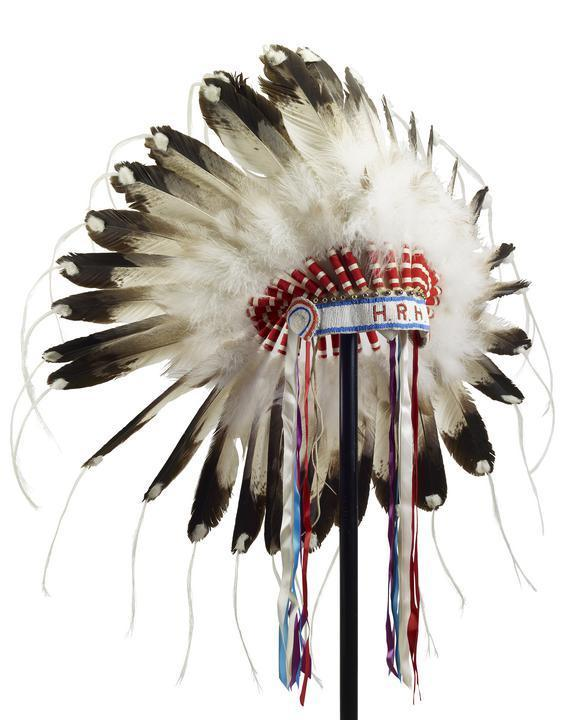 A First Nations feather headdress presented to Prince Philip by Jim Shot Both Sides, Head Chief of the Blood Reserve, during a Commonwealth Visit to Canada in 1973