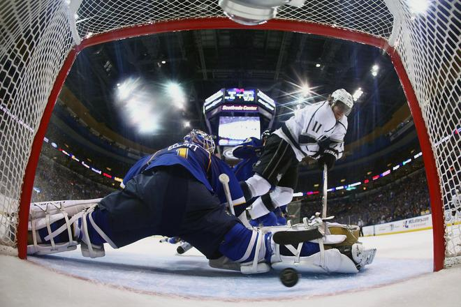 ST. LOUIS, MO - APRIL 30: Anze Kopitar #11 of the Los Angeles Kings scores a goal against Brian Elliott #1 of the St. Louis Blues in Game Two of the Western Conference Semifinals during the 2012 NHL Stanley Cup Playoffs at the Scottrade Center  on April 30, 2012 in St. Louis, Missouri.  (Photo by Dilip Vishwanat/Getty Images)