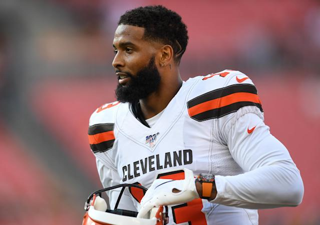 """The Browns declined to elaborate on a reported """"hip injury"""" that sidelined Odell Beckham Jr. Wednesday. (Getty)"""