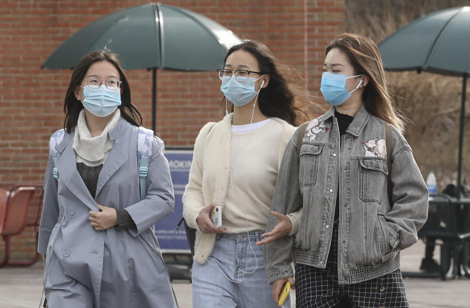Stony Brook, N.Y.: As concerns about the coronavirus are on many people's minds, some students on the Stony Brook University's Long Island campus were wearing protective masks on March 11, 2020. (Photo by John Paraskevas/Newsday RM vis Getty Images)