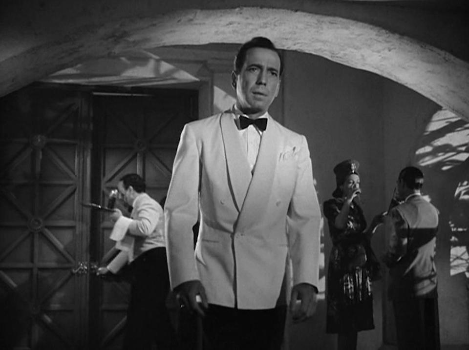 """In our collective cultural memory, it's <strong>Humphrey Bogart</strong> who says """"play it again, Sam"""" in the 1942 noir classic <em>Casablanca</em>. But it's actually <strong>Ingrid Bergman</strong>'s Ilse who says something closer, when she pleads with the piano player, """"Play it once, Sam, for old time's sake. Play 'As Time Goes By.'"""" Later in the film, Bogart tells Sam, """"You played it for her, you can play it for me. If she can stand it, I can. Play it!"""" Not exactly """"Play it again, Sam,"""" but it's close…kinda."""