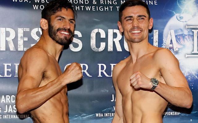 <span>Anthony Crolla and Jorge Linares during the weigh-in </span> <span>Credit: PA </span>
