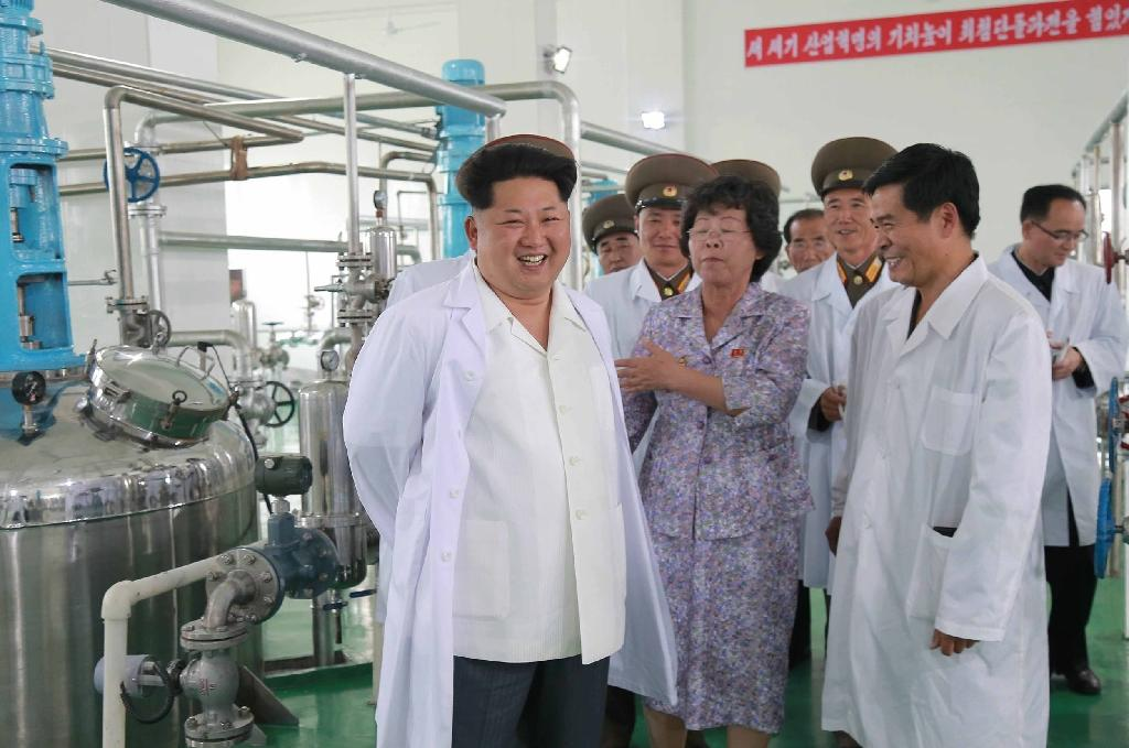 North Korean leader Kim Jong-Un (left) inspects the Pyongyang Bio-technical Institute, at the centre of the US allegations over anthrax (AFP Photo/Kns)