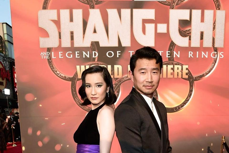 Meng'er Zhang and Simu Liu attend the Shang-Chi and the Legend of the Ten Rings World Premiere  (Getty Images for Disney)