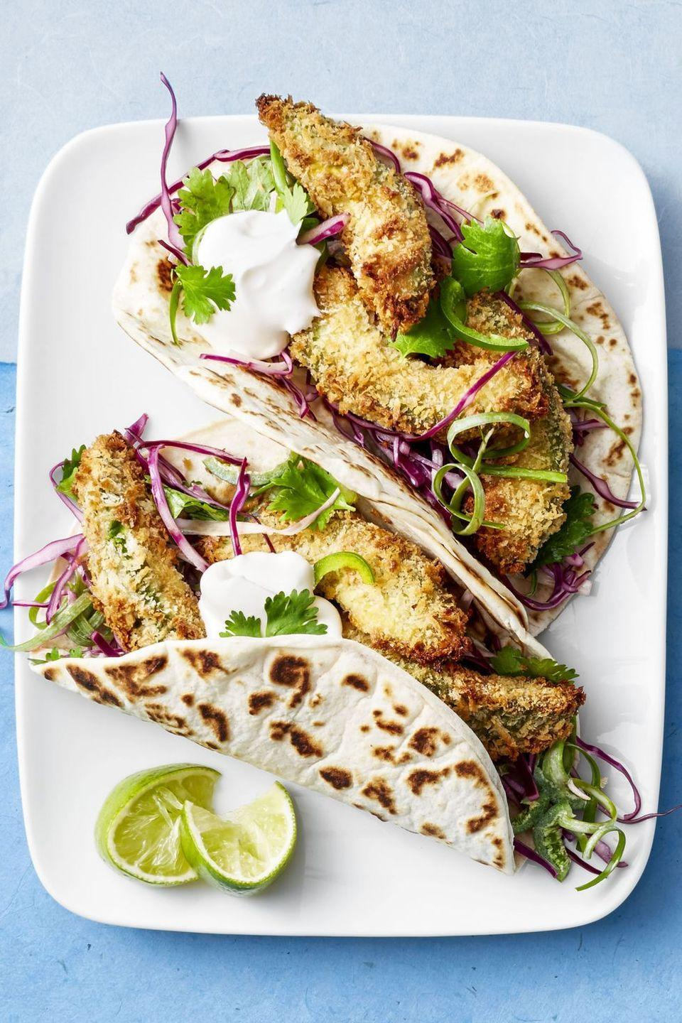 """<p>Take your avocado obsession to the next level by rolling them in breadcrumbs, air frying them to crispy perfection and stuffing them in a tortilla.</p><p><em><a href=""""https://www.goodhousekeeping.com/food-recipes/easy/a46646/fried-avocado-tacos-recipe/"""" rel=""""nofollow noopener"""" target=""""_blank"""" data-ylk=""""slk:Get the recipe for Air Fryer &quot;Fried&quot; Avocado Tacos »"""" class=""""link rapid-noclick-resp"""">Get the recipe for Air Fryer """"Fried"""" Avocado Tacos »</a></em></p><p><strong>RELATED: </strong><a href=""""https://www.goodhousekeeping.com/food-recipes/g655/avocado-recipes/"""" rel=""""nofollow noopener"""" target=""""_blank"""" data-ylk=""""slk:53 Ways to Use Avocado So That Your Next Meal Is Extra-Nutritious"""" class=""""link rapid-noclick-resp"""">53 Ways to Use Avocado So That Your Next Meal Is Extra-Nutritious</a><br></p>"""