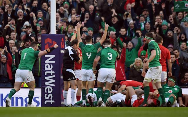 Rugby Union - Six Nations Championship - Ireland vs Wales - Aviva Stadium, Dublin, Republic of Ireland - February 24, 2018 Ireland's Conor Murray celebrates after their third try scored by Dan Leavy (hidden) REUTERS/Clodagh Kilcoyne