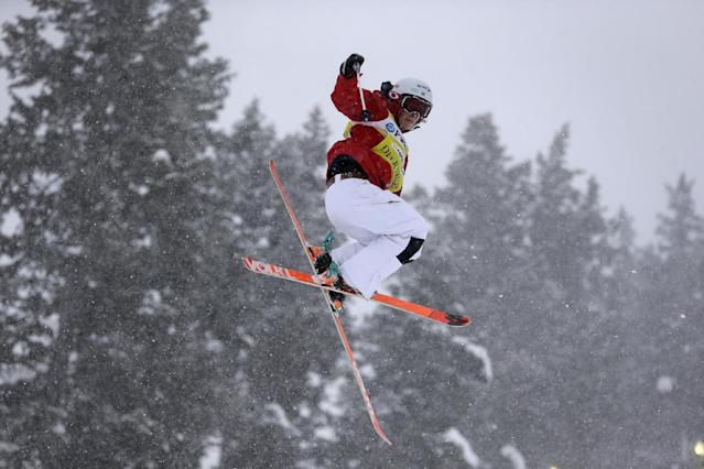 Hannah Kearney competes during the freestyle World Cup moguls event on Thursday, Jan. 9, 2014, in Park City, Utah. (AP Photo/Rick Bowmer)