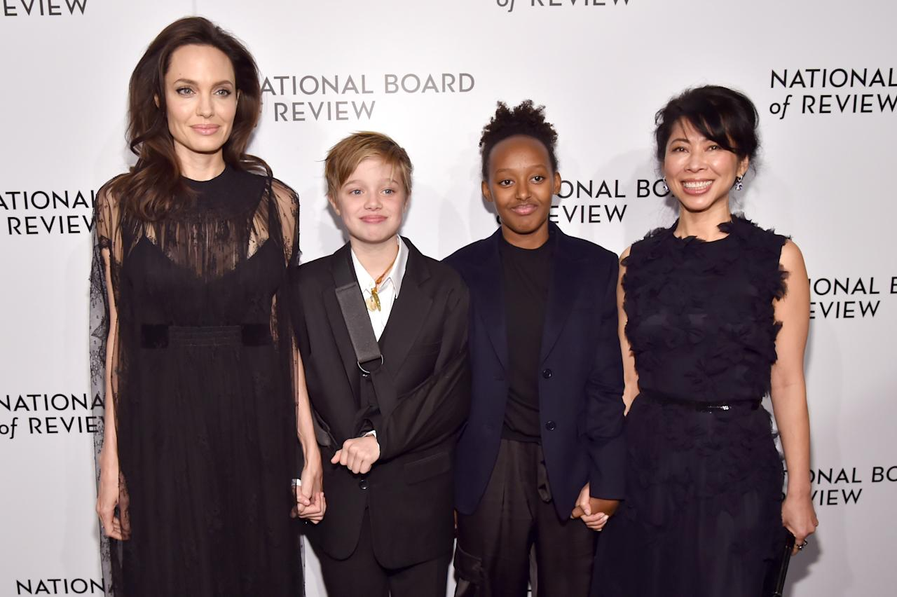 Angelina Jolie, Shiloh Jolie-Pitt, Zahara Jolie-Pitt, and Loung Ung attends the The National Board Of Review Annual Awards Gala at Cipriani 42nd Street on January 9, 2018 in New York City.  (Photo by Kevin Mazur/Getty Images for National Board of Review)