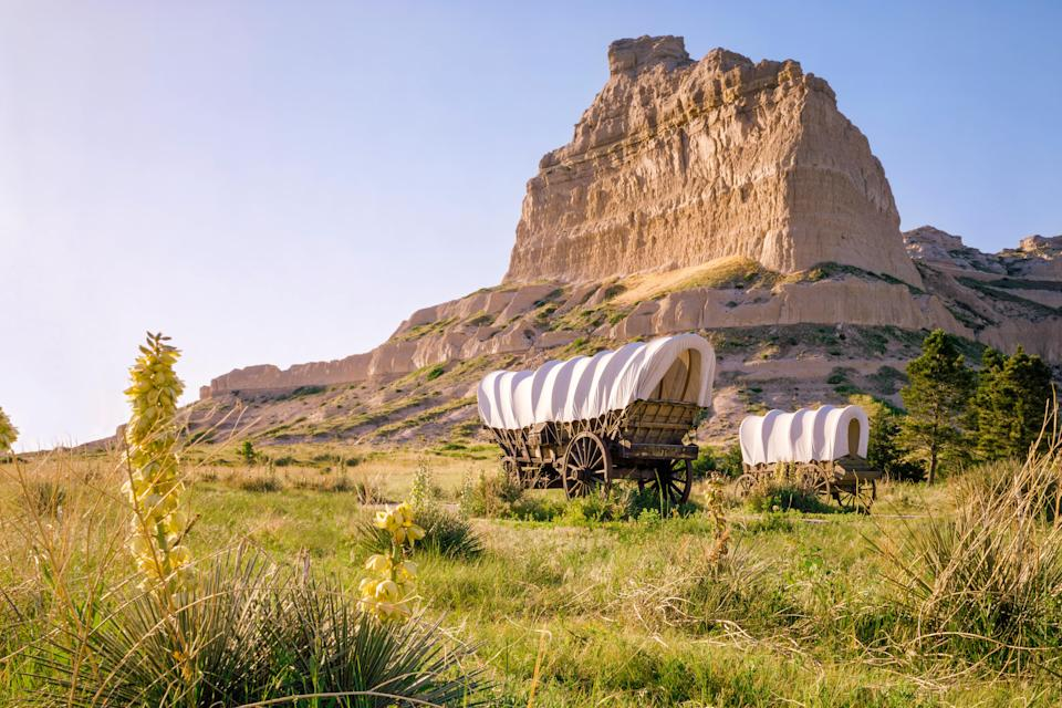 "<p><strong>Best thing to do in Nebraska:</strong> Travel the actual Oregon Trail</p> <p>For many, an Oregon Trail experience involves pixelated pioneers <a href=""http://www.died-of-dysentery.com/stories/memes.html"" rel=""nofollow noopener"" target=""_blank"" data-ylk=""slk:dying of dysentery"" class=""link rapid-noclick-resp"">dying of dysentery</a> on the namesake computer game. But you can get a real-life taste of the pioneer experience by taking a drive through western Nebraska. The Cornhusker State is perfect for <a href=""https://www.cntraveler.com/galleries/2014-06-25/best-and-worst-states-for-summer-road-trips?mbid=synd_yahoo_rss"" rel=""nofollow noopener"" target=""_blank"" data-ylk=""slk:summer road trips"" class=""link rapid-noclick-resp"">summer road trips</a>, with the average temperature hovering around 87 degrees in July and August and plenty of roadside attractions worthy of lengthy pit stops. Among them is Scotts Bluff National Monument, once a stop on the actual <a href=""https://www.nps.gov/scbl/planyourvisit/otpath.htm"" rel=""nofollow noopener"" target=""_blank"" data-ylk=""slk:Oregon Trail"" class=""link rapid-noclick-resp"">Oregon Trail</a>, that now welcomes visitors with vast plains, covered wagons, and epic landmarks like Chimney Rock.</p>"
