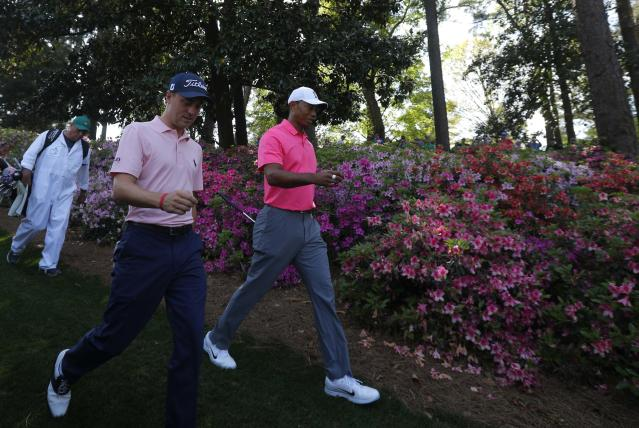Justin Thomas (center) is one of the few golfers with better odds at Augusta this week than Tiger Woods. (Reuters)