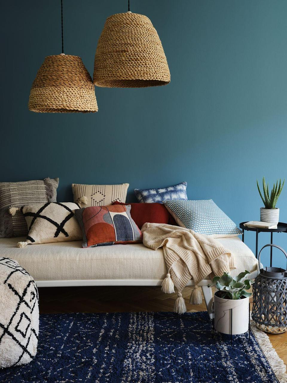 """<p>We're big fans of the Other World trend, which is brimming with gorgeous textures and nature-inspired <a href=""""https://www.housebeautiful.com/uk/decorate/walls/a37022238/instagrammable-paint-colours-summer/"""" rel=""""nofollow noopener"""" target=""""_blank"""" data-ylk=""""slk:hues"""" class=""""link rapid-noclick-resp"""">hues</a>. </p><p>'Blues and oranges blend with natural woods and reactive glazes for a warm ambiance to the trend,' say George Home. 'Raw finishes, marbles and matt ceramics span across an earthy colour palette for a contemporary finish.' </p><p><a class=""""link rapid-noclick-resp"""" href=""""https://direct.asda.com/george/home/D26,default,sc.html"""" rel=""""nofollow noopener"""" target=""""_blank"""" data-ylk=""""slk:SHOP NOW"""">SHOP NOW</a></p>"""