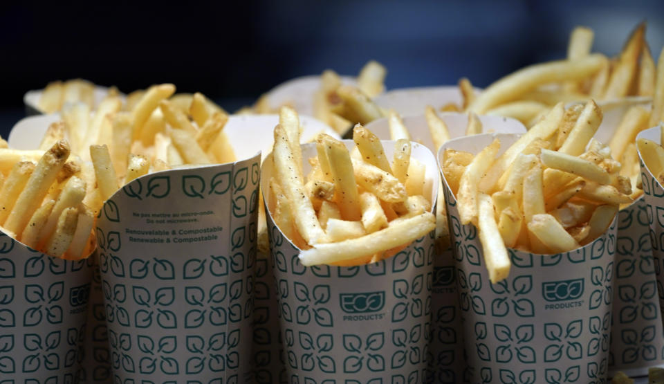 French fries wait to be served during a tour of Mercedes-Benz Stadium for the NFL Super Bowl 53 football game Tuesday, Jan. 29, 2019, in Atlanta. (AP Photo/David J. Phillip)
