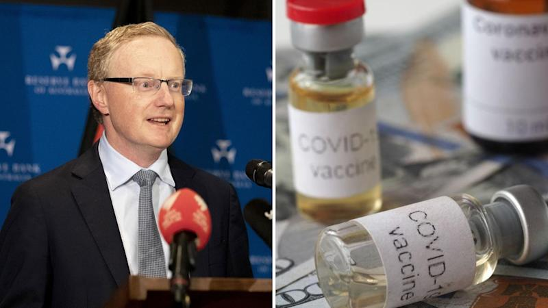 "Reserve Bank of Australia governor Philip Lowe on the left and bottles labelled ""Covid-19 vaccine"" on the right."