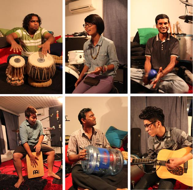 """Six of the eight-man crew that produced the cover and mashup of """"Some Nights"""" and """"Sing"""" include (clockwise from top left) Jahangir on Tabla, lead vocalist Moxi Looi, Getun on the maracas, electric and acoustic guitarist Guan Xian, Osman, who drums the used water bottle, and Sky Ong Woonyong, who plays percussion and assists with backup vocals. (Photo courtesy of Bernice Wong)"""