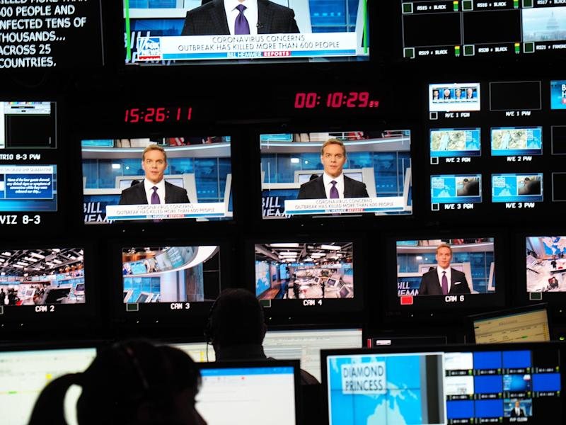 Inside Fox News' control room in February 2020.