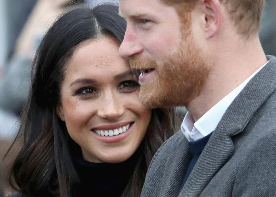 <p>Again, spotted with hearts in her eyes, Markle appears enamored with the Prince as he makes an announcement to the crowd at the castle.</p>