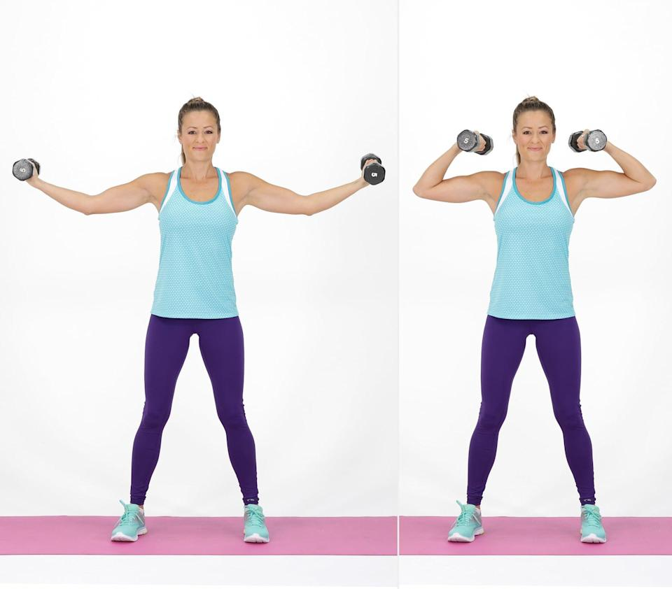 <ul> <li>Stand with your feet slightly wider than hips-width-distance apart. </li> <li>Holding a dumbbell in each hand, hold your arms out wide with a slight bend in your elbows, palms facing up.</li> <li>Bend at your elbows, pulling the weights toward your ears.</li> <li>Extend your arms out wide again to complete one rep.</li> </ul>