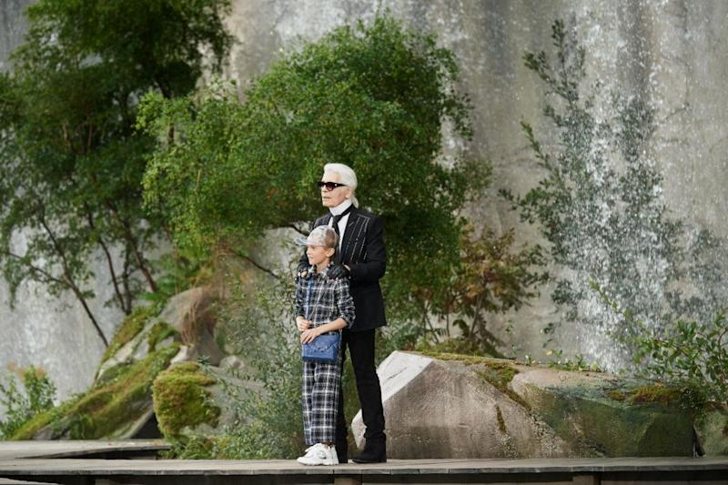 Karl Lagerfeld appeared at the end of the show with his godson. Photo: Chanel