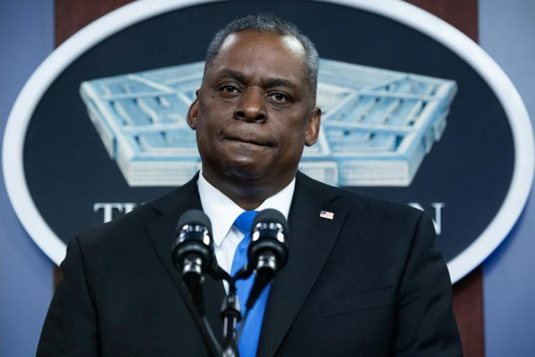 Pentagon chief Lloyd Austin speaking at a news conference this month