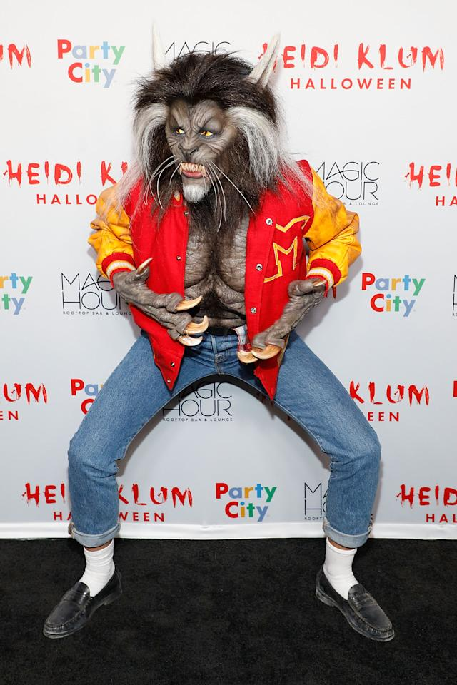 <p>For her 18th annual Halloween party, Heidi pulled out all the stops and transformed into the werewolf from Michael Jackson's 1982 'Thriller' video. [Photo: Getty] </p>