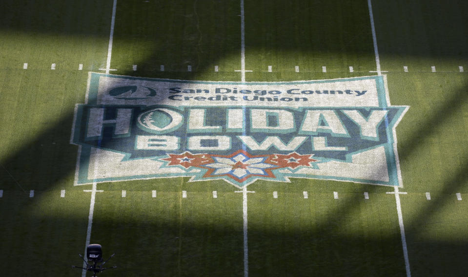 A detailed view of the midfield logo before the Holiday Bowl NCAA college football game between the USC Trojans and the Iowa Hawkeyes Friday, Dec. 27, 2019, in San Diego. (AP Photo/Orlando Ramirez)