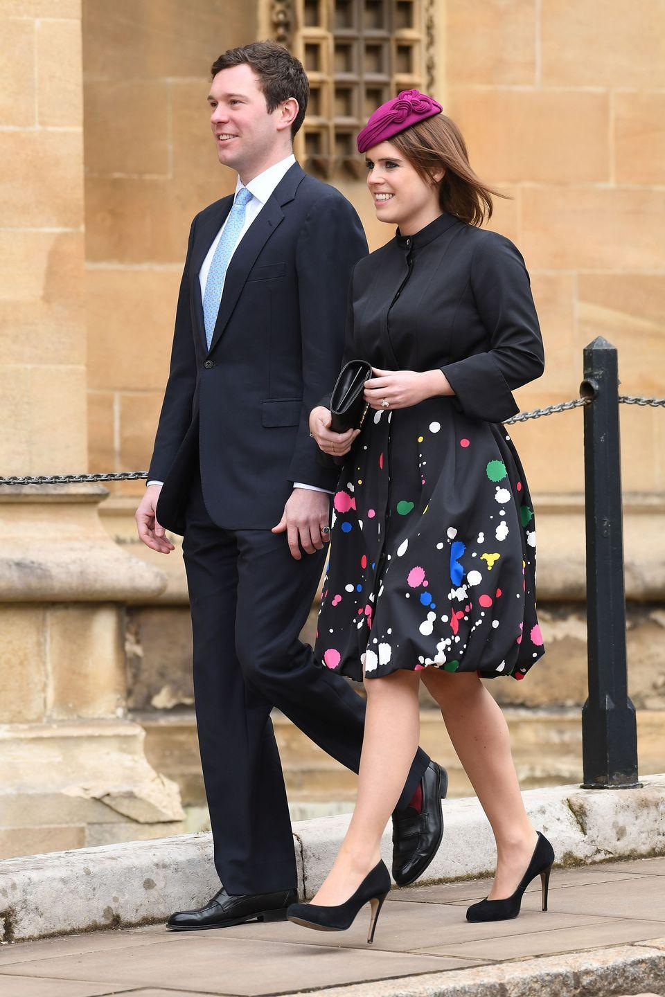 """<p>This marks their first official appearance at a royal event together.</p><p><strong><a href=""""https://www.townandcountrymag.com/society/tradition/a15841755/princess-eugenie-jack-brooksbank-wedding/"""" rel=""""nofollow noopener"""" target=""""_blank"""" data-ylk=""""slk:More: Everything We Know So Far About Princess Eugenie and Jack Brooksbank's Wedding"""" class=""""link rapid-noclick-resp"""">More: Everything We Know So Far About Princess Eugenie and Jack Brooksbank's Wedding</a></strong></p>"""