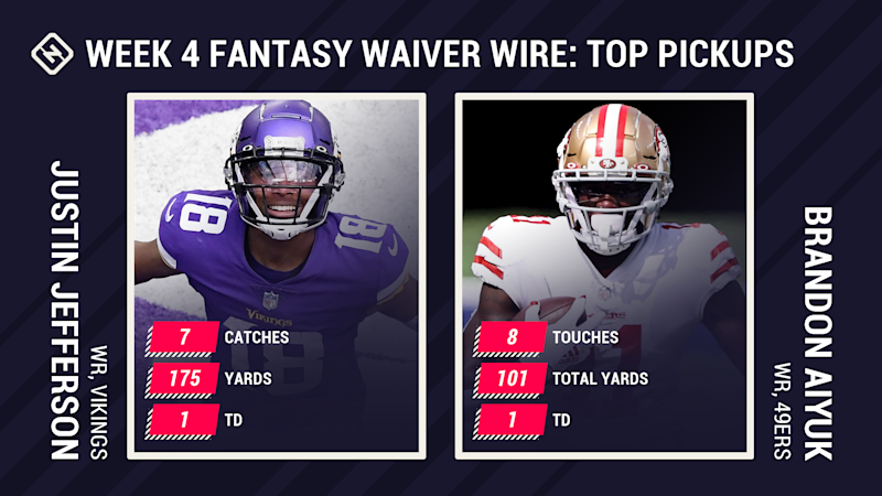 Best Fantasy Week 4 Waiver Pickups: Justin Jefferson, Brandon Aiyuk break out, Chris Carson injury opens door for Carlos Hyde