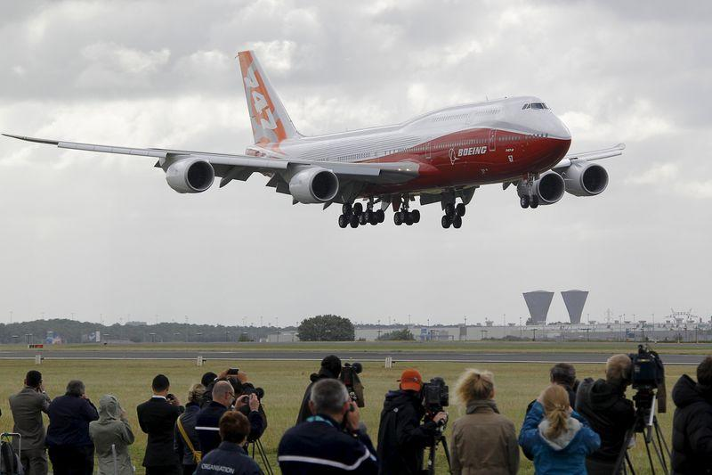 File photo of the new Boeing 747-8 Intercontinental jetliner landing at Le Bourget airport on the eve of the Paris Air Show