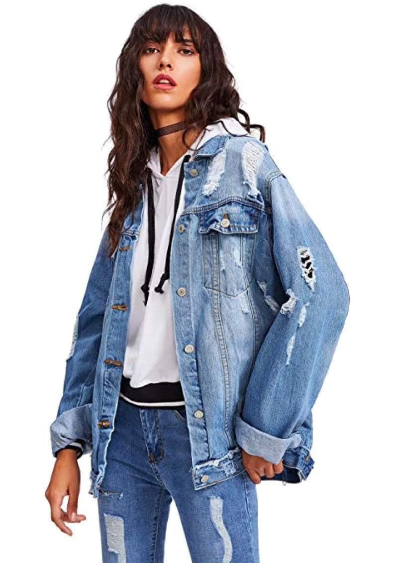 """Weekend of errands ahead? This distressed denim jacket is the perfect layer to wear on top of your go-to hoodie and leggings when you're on-the-go. $37, Amazon. <a href=""""https://www.amazon.com/Floerns-Womens-Ripped-Distressed-Casual/dp/B078MBXB14/"""" rel=""""nofollow noopener"""" target=""""_blank"""" data-ylk=""""slk:Get it now!"""" class=""""link rapid-noclick-resp"""">Get it now!</a>"""