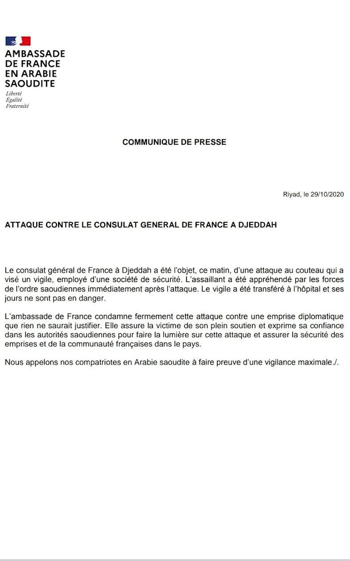 Statement from the French Embassy in Saudi Arabia about the knife attack at the French Consulate - -/-