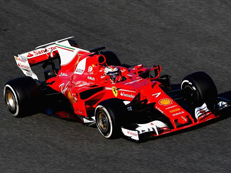 Kimi Raikkonen's Ferrari, complete with a white 'shark fin': Getty