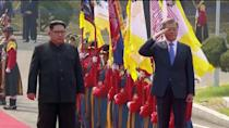 South Korean President Moon Jae-in salutes next to North Korean leader Kim Jong Un during a ceremony at the inter-Korean summit at the truce village of Panmunjom, in this still frame taken from video, South Korea April 27, 2018. Host Broadcaster via REUTERS TV
