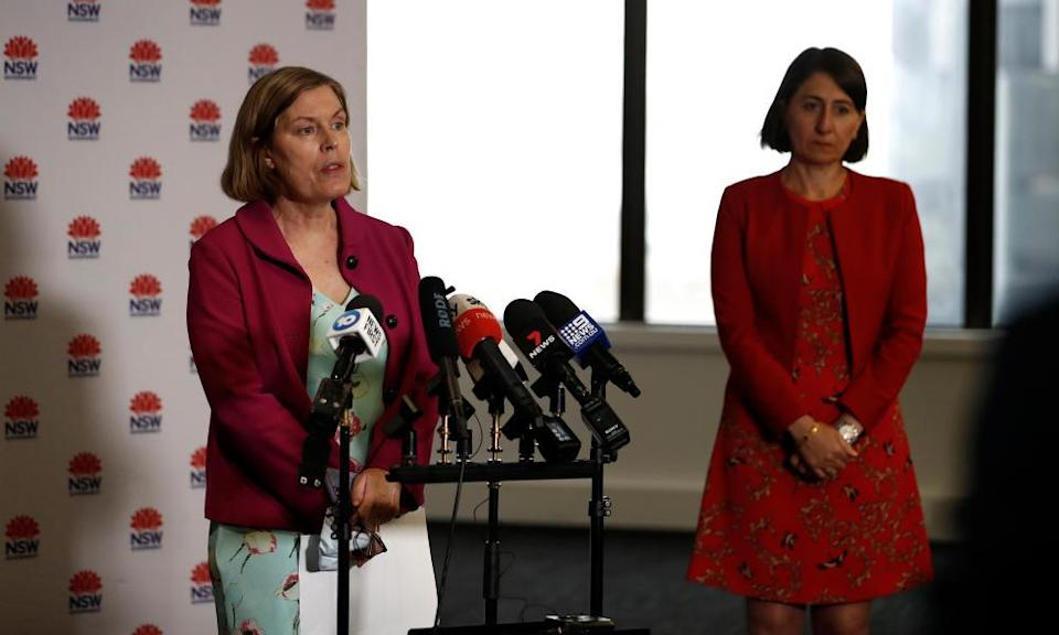 NSW chief health officer Dr Kerry Chant (left) speaks during a press conference alongside premier Gladys Berejiklian on Wednesday.