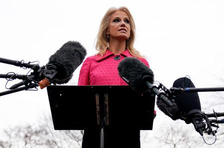 FILE PHOTO: White House Counselor Kellyanne Conway speaks to the media at the White House in Washington, U.S., February 22, 2019.      REUTERS/Joshua Roberts/File Photo