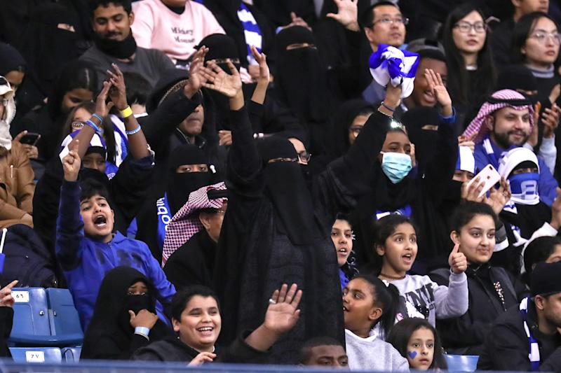 Saudi women made history by attending a football match for the very first time