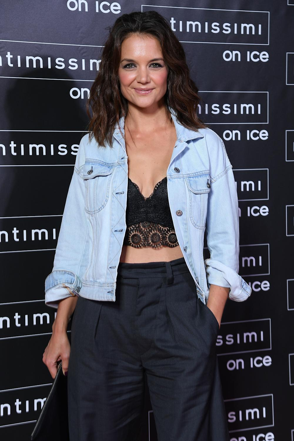 Katie Holmes attends Intimissimi On Ice on Oct. 6, 2017 in Verona, Italy. (Venturelli via Getty Images)